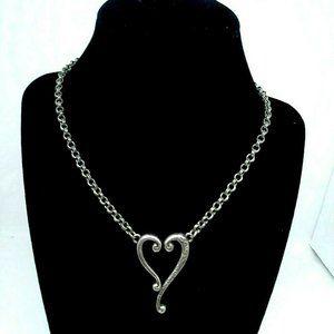 Brighton Necklace Women's  Silver Tone  Heart Pend